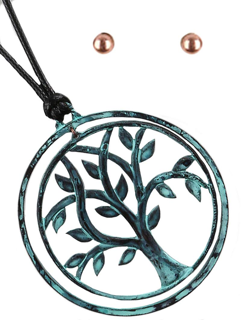Fashion Jewelry ~ Aged Finish Tree of Life Chunky Pendant Long Necklace and Earrings Set (Patina, Black)