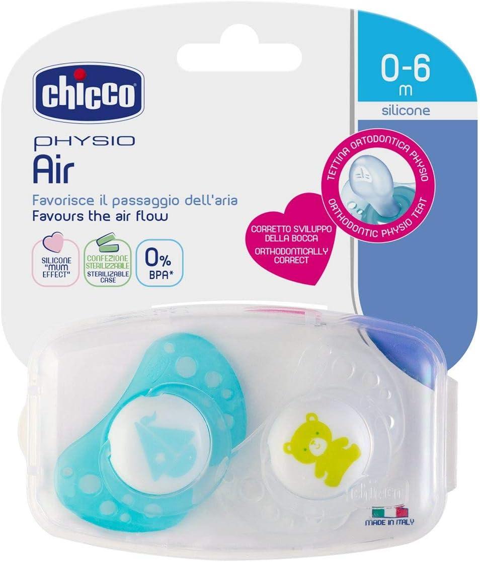 Colori Assortiti Chicco 00075031210000 Physio Air in Silicone Ciuccio per Bimbo 2 Pezzi 0-6 Mesi
