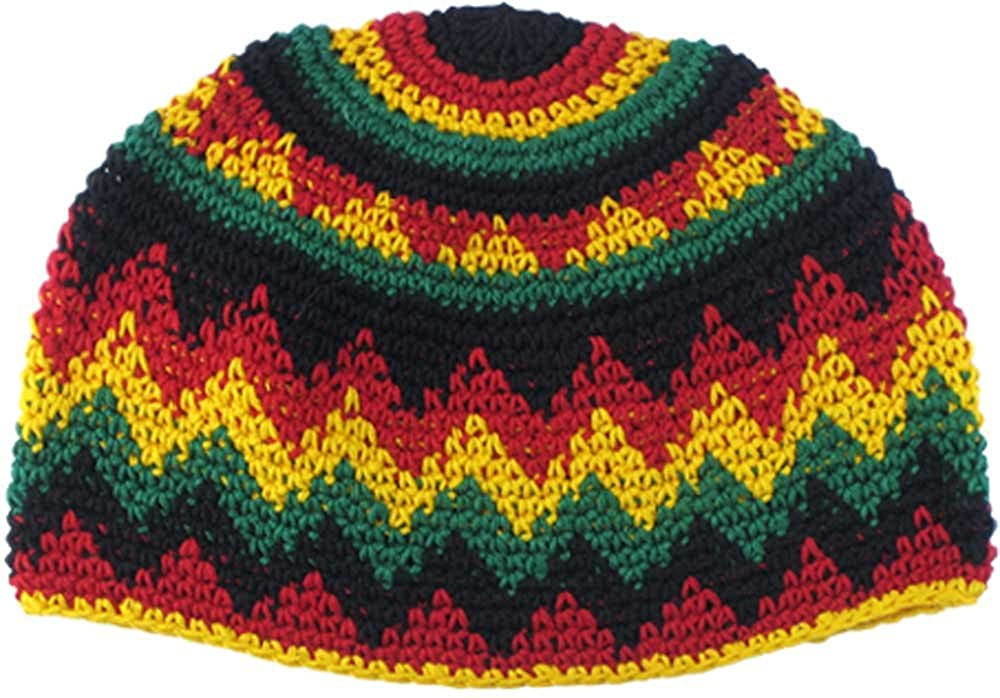 e28677bc1d3 Amazon.com  Cotton Crocheted Rasta Beanie  Clothing