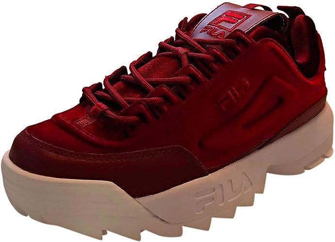 Fila Disruptor II Premium Velour Mujeres Zapatillas Red White - 3 ...