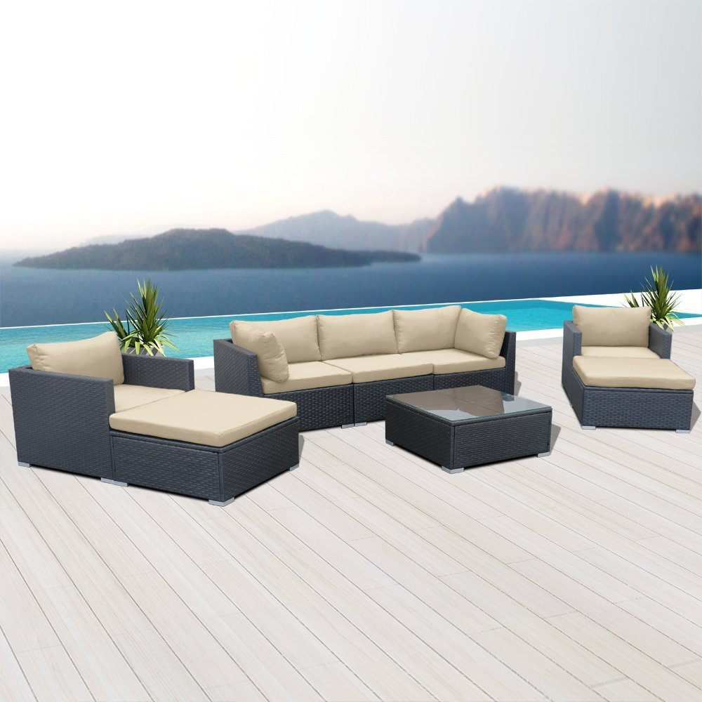 Modenzi V8-U Outdoor Sectional Patio Furniture Espresso Brown Wicker Sofa Set (Light Beige) by Modenzi