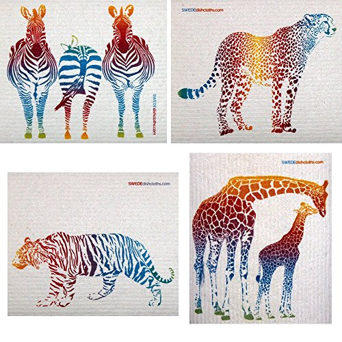 Mixed Colorful Animals Set of 4 Cloths (one of Each Design) Swedish Dishcloths | ECO Friendly Absorbent Cleaning Cloth | Reusable Cleaning Wipes