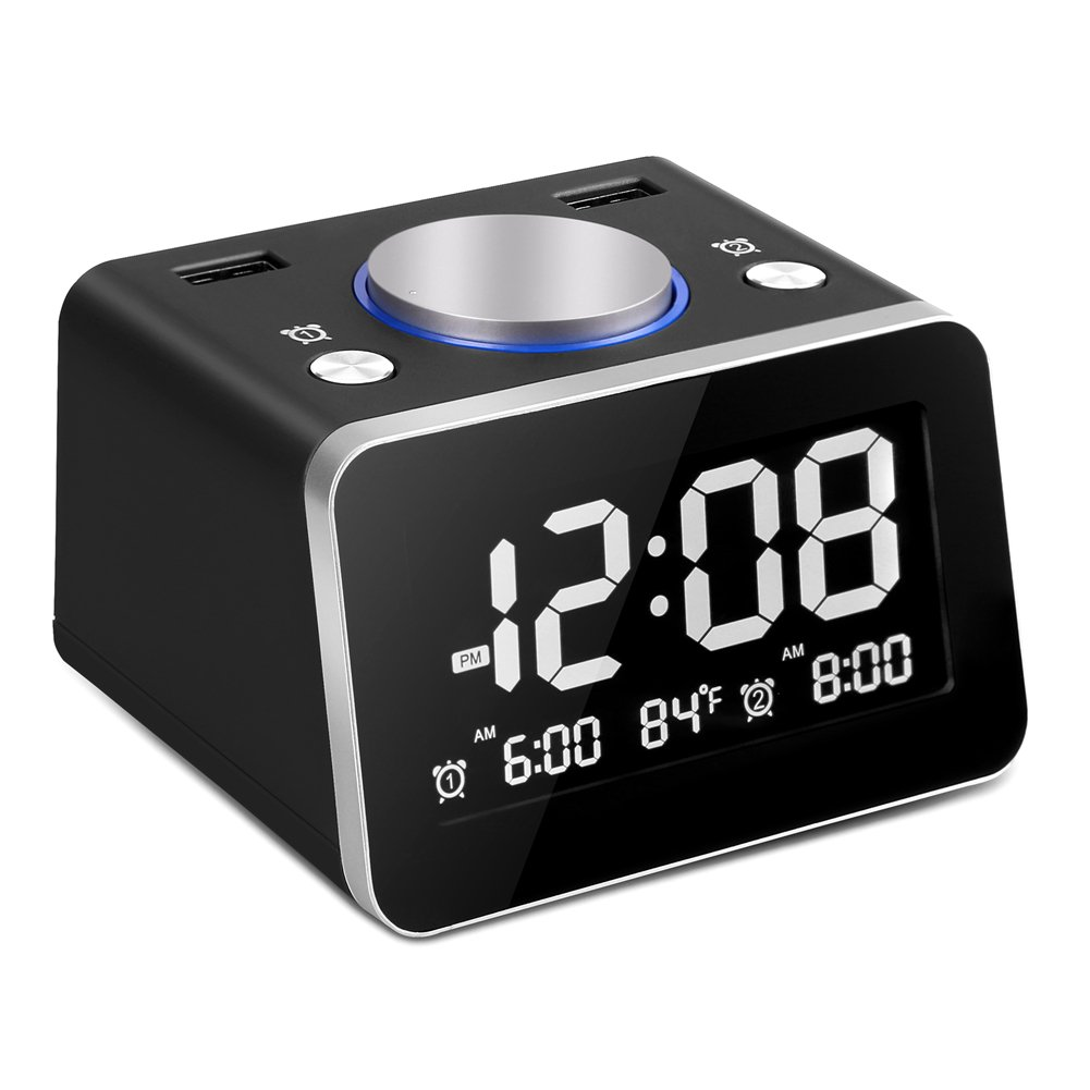 SVINZ Digital Dual Alarm Clock with 2 USB Charging Ports and Large Display, 2 Loud Musical Alarm, 4 Dimmer, Indoor Temperature for Bedrooms, Nightstand Clock, Battery Backup, SCC009-Black