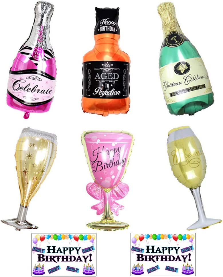 6 Pack Party Large Foil Balloons with Stickers - Champagne and whiskey Bottles with Goblet glasses 33in. tall by Par-T