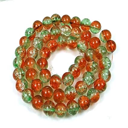 "Amber 16/"" 50 Czech Glass Crackle Cracked Round Beads 8mm Green"