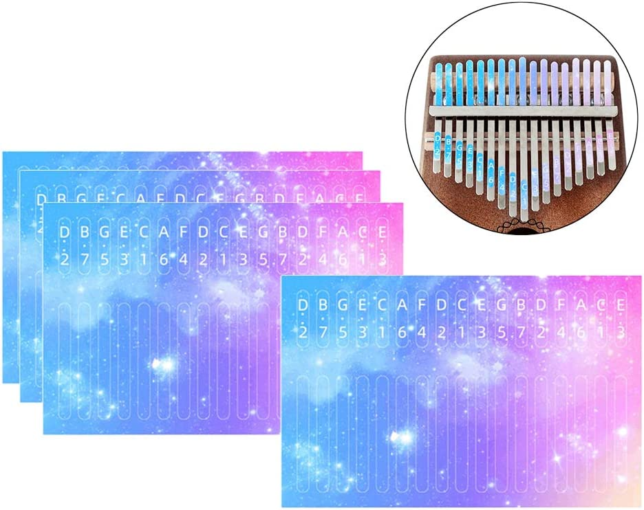Baoblaze 4x Kalimba Thumb Piano Scale Note 17 Key Sticker Parts For Learner Musical