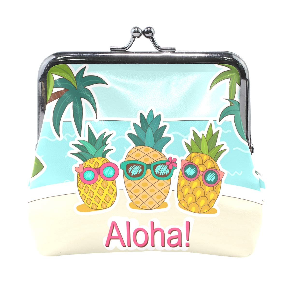 Ethel Ernest Aloha Pineapple With Sunglasses Coin Wallets Mini Purse for Womens Girls Ladies