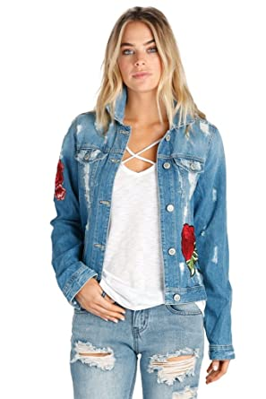 853919c841f ELAN Denim Jacket with Rose Applique at Amazon Women's Coats Shop