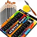 Complete Acrylic Paint Set – 24? Rich Pigment Colors – 12x Art Brushes with Bonus Paint Art Knife & Sponge – for Painting Canvas, Clay, Ceramic & Crafts, Non-Toxic & Quick Dry