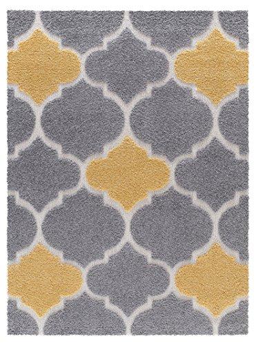 (Mod-Arte   Platinum Shag Collection   Plush Area Rug   Modern Contemporary Style   Grey & Yellow   7'10