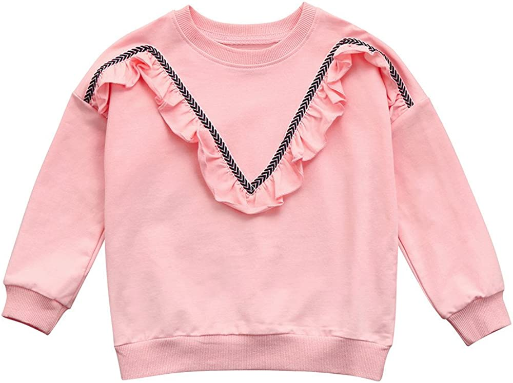 XUANOU Girls Long Sleeve Pleated Lace Pullovers Toddler Baby Girl Ruched Sweatshirt Solid Pullover Tops Outfits Clothes