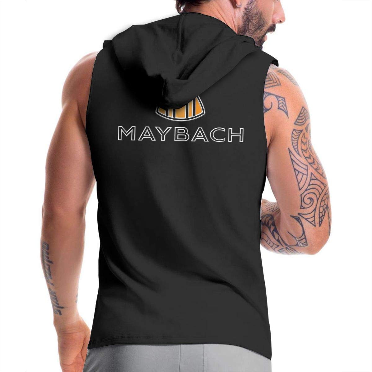 SHENGN Mans Designed Funny with Cap Bag Maybach Auto Logo Zipper Suits