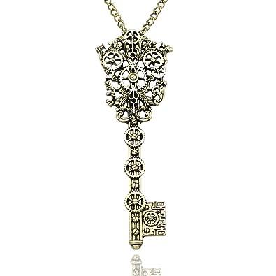 Q&Q Fashion Ornate Silver Skeleton Key Watch Clock Hand Gear Cog Steampunk Bead Chain Necklace TzFvzP