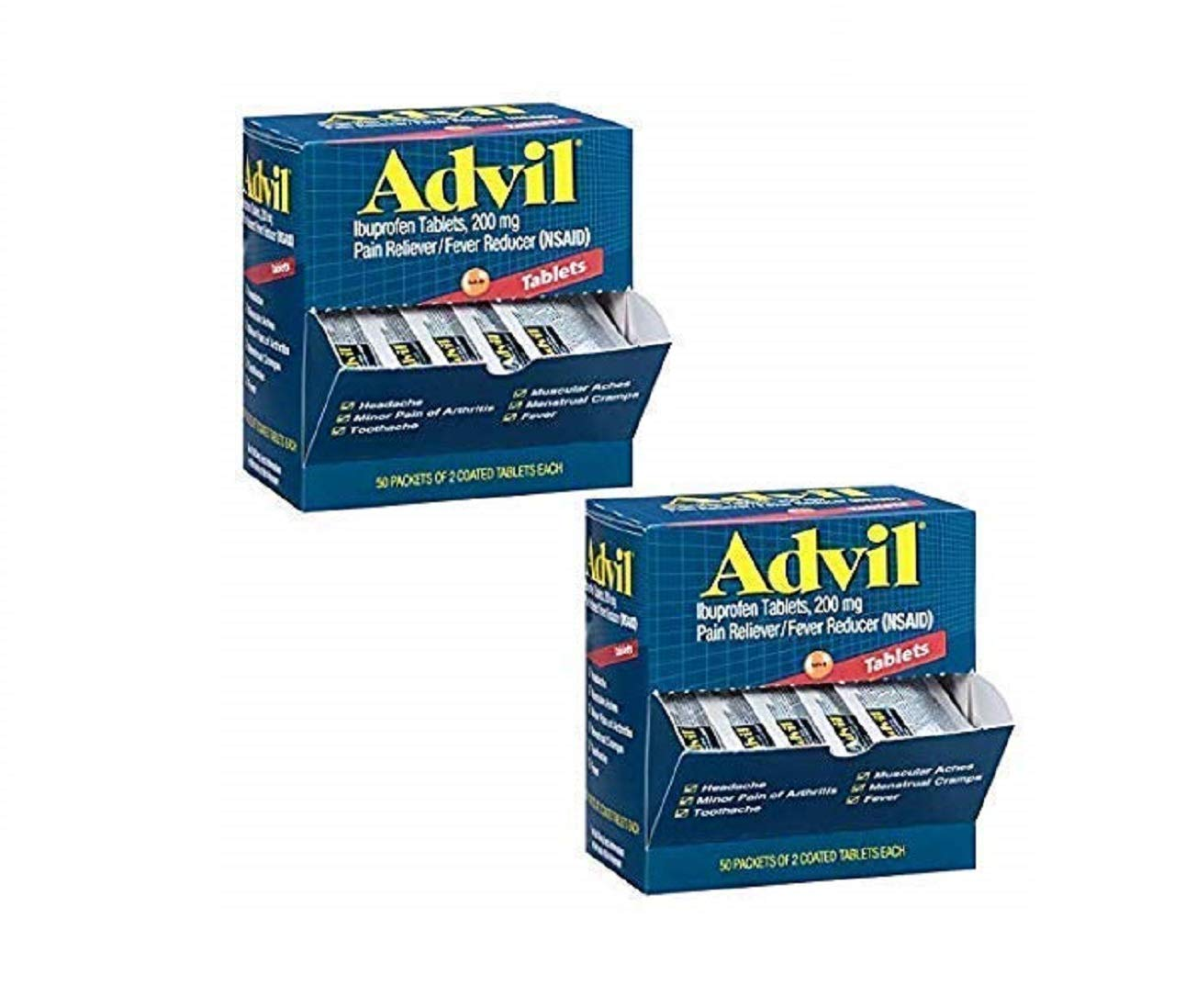Ibuprofen Individually Wrapped Medication, 50 Doses of Two Tablets, 200 mg (2 Pack) by Advil
