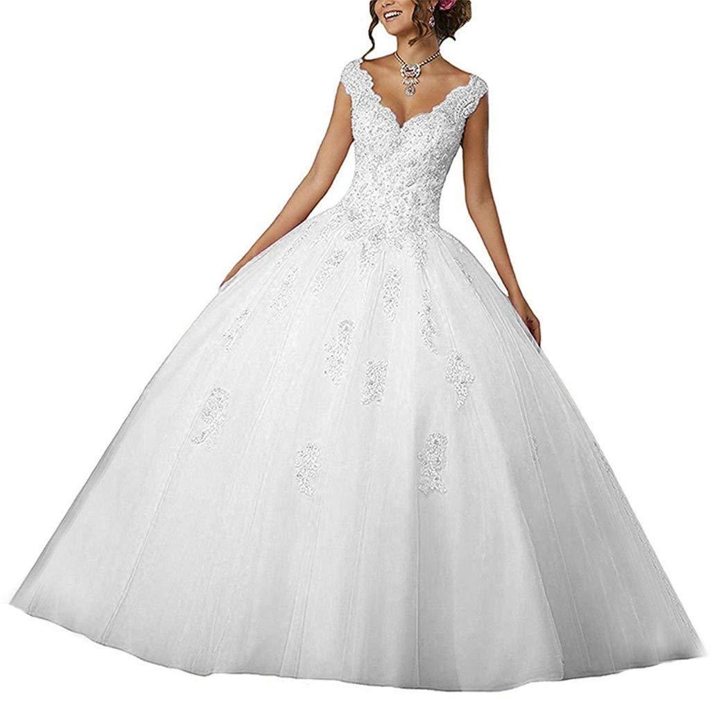 White Vantexi Women's VNeckline Lace Applique Beaded Sweet 16 Ball Gown Quinceanera Dress