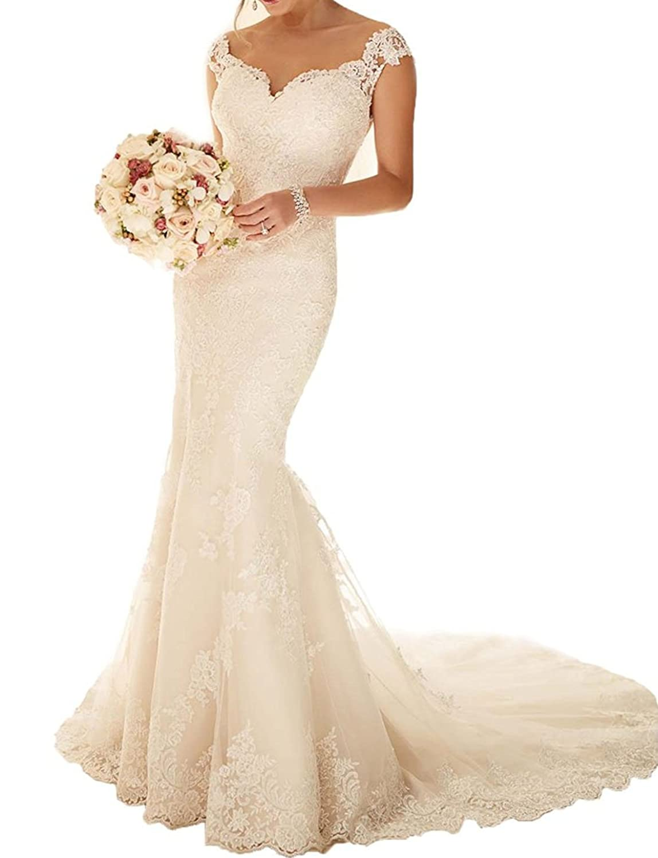 Hidress Women's Mermaid Lace Bridal Gpwns V Neckline Appliques Wedding Dresses Long H002
