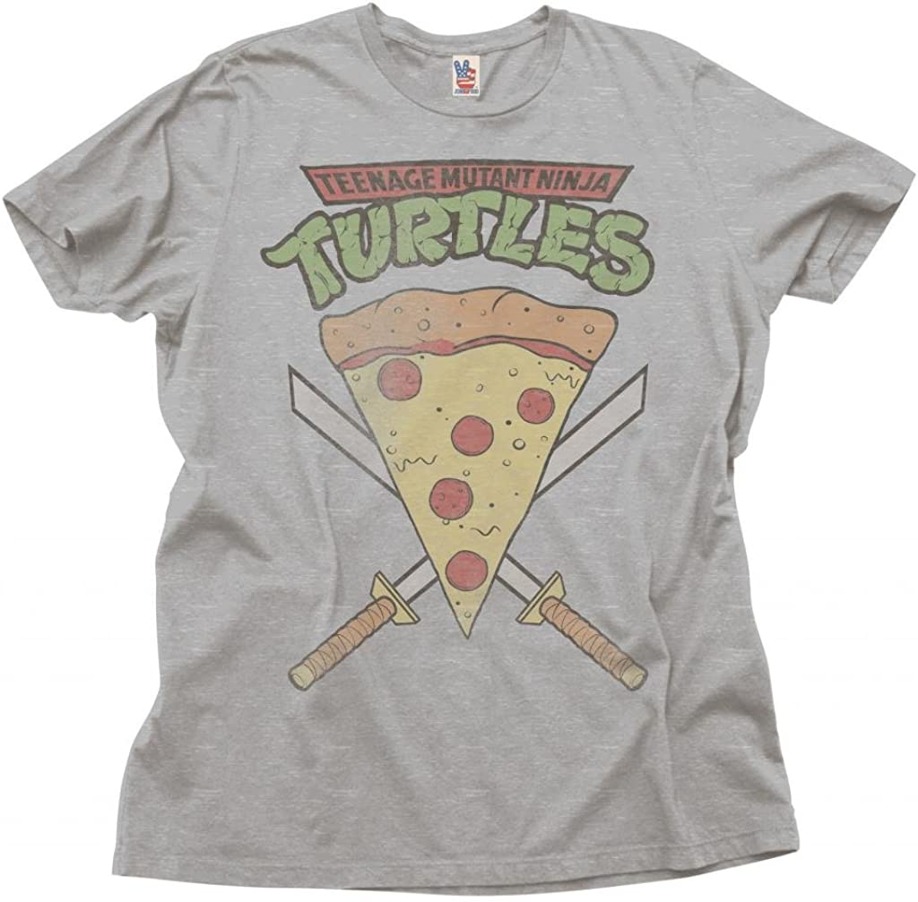 Junk Food Teenage Mutant Ninja Turtles Pizza Slice Adult Heather Gray T-Shirt