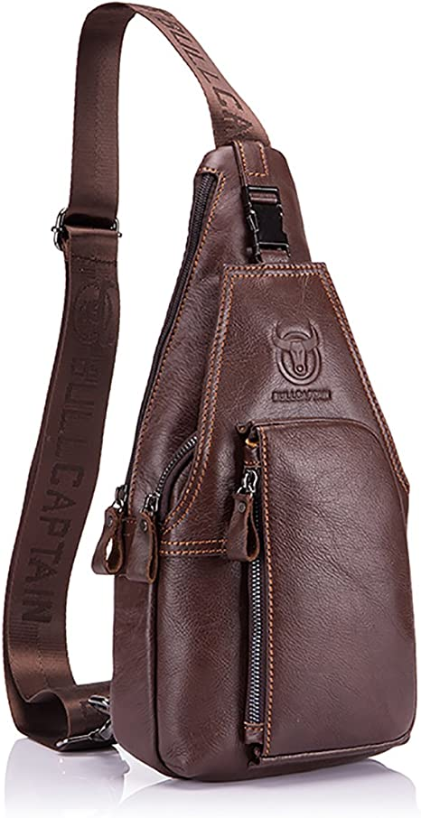 Men Leather Sling Chest Bag Crossbody Shoulder Messenger Travel Backpack Pack