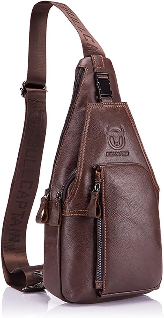 Men Sling Bag,Charminer Genuine Leather Chest Shoulder Messenger Bag Casual Cros