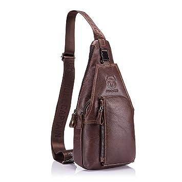 9f2ee6fe6 Bolso Hombres de pecho, Charminer Cuero genuino Crossbody Bolso de hombro  Bolsos de mochila Mochila Messenger Bag Daypack para el negocio Casual  Sport ...