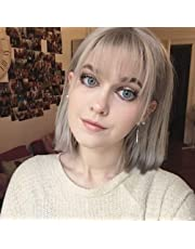 STfantasy Bob Wigs Short Straight Synthetic Hair for Women Girl Cosplay Costume Halloween Everyday Daily (Silver Grey)