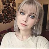 STfantasy Silver Grey Bob Wig for Women Short Straight Natural Wigs with Bangs Girls Daily Cosplay Costume Halloween…