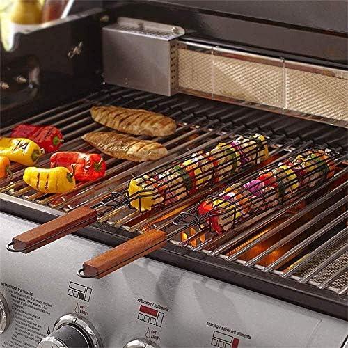 3pcs antiadhésifs Simple Paniers Brochettes, Saucisse BBQ Grill Panier avec poignée Grilled Sausage Net for Griller des légumes 48x6cm