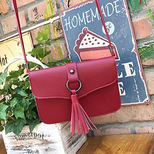 BZLine® Frauen Quasten Crossbody Tasche Umhängetasche Tasche Shoulder Bag Handtasche Rot