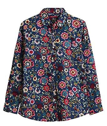 Dioufond Camisa de Mujer Manga Larga de Algodón Flores Patrón Botón Abajo Blusa Delgada con Cuello Vuelto y Puño Gemelos Top de Mujer - Trabajo/Verano(EU 38,AzulBohe)