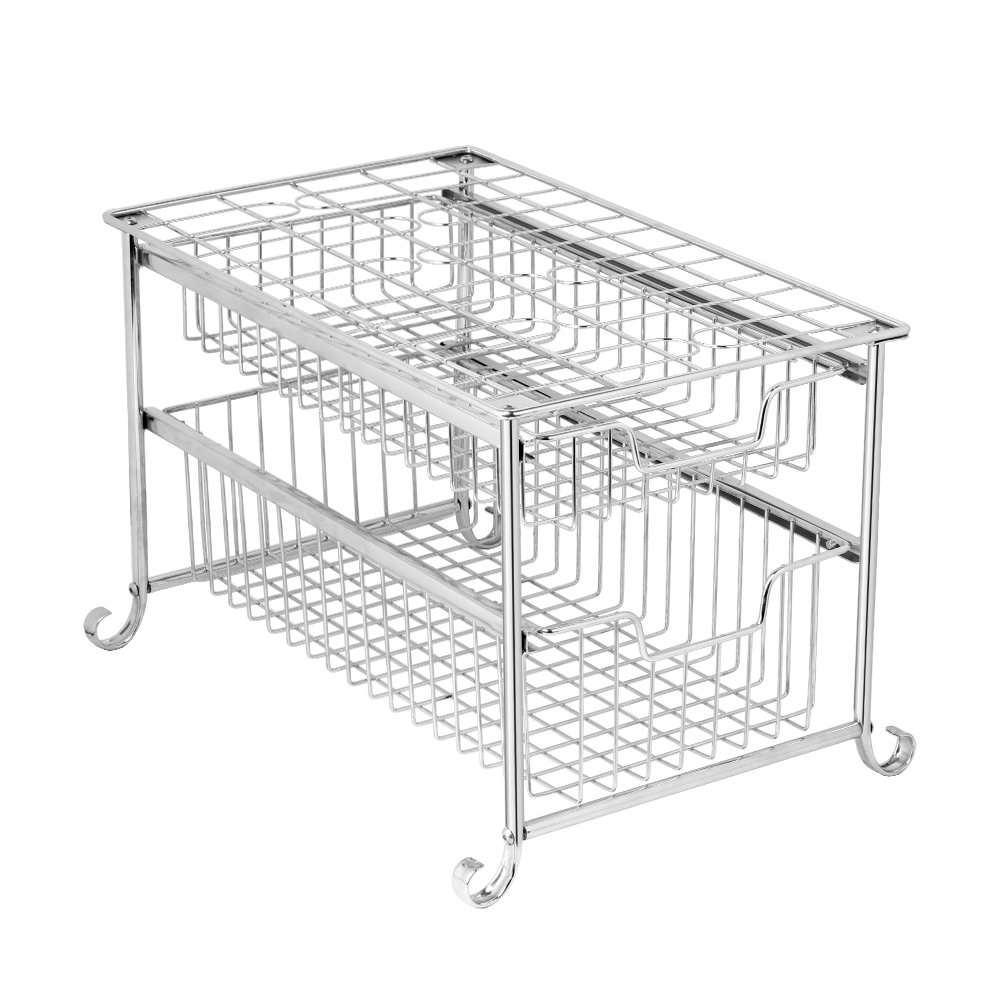 NEX 2-Tier Sliding Basket Organizer Under Sink Pull Out Organizer for Cabinet Kitchen Storage Drawers Bathroom, Plating