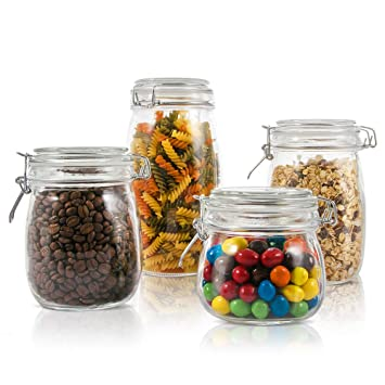 Masthome 4 Piece Glass Jar Set With Sealing Lid Kitchen Container