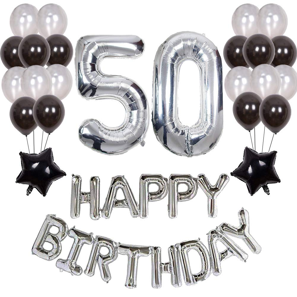 Details About Yoart 50th Birthday Decorations Black And Silver Party Decor For Men Happy
