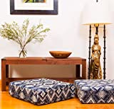 FORTUNATE1 French Brocade Floor Pillow / Floor Cushion / Pouf (Blue, Ivory & Black, 22'' x 22'' x 5'')