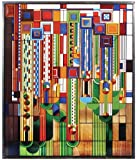 "Frank Lloyd Wright Saguaro Stained Glass Metal Framed Ht:13.88"" x 11"""