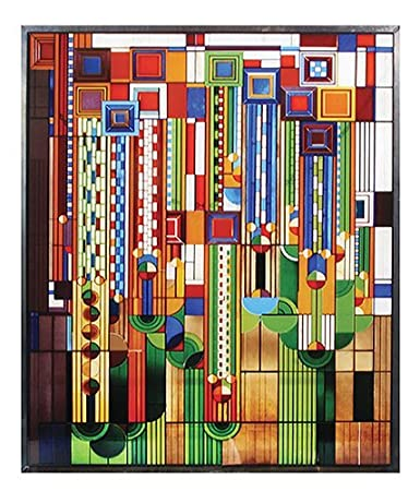 Amazon.com: Frank Lloyd Wright Saguaro Stained Glass Metal Framed ...