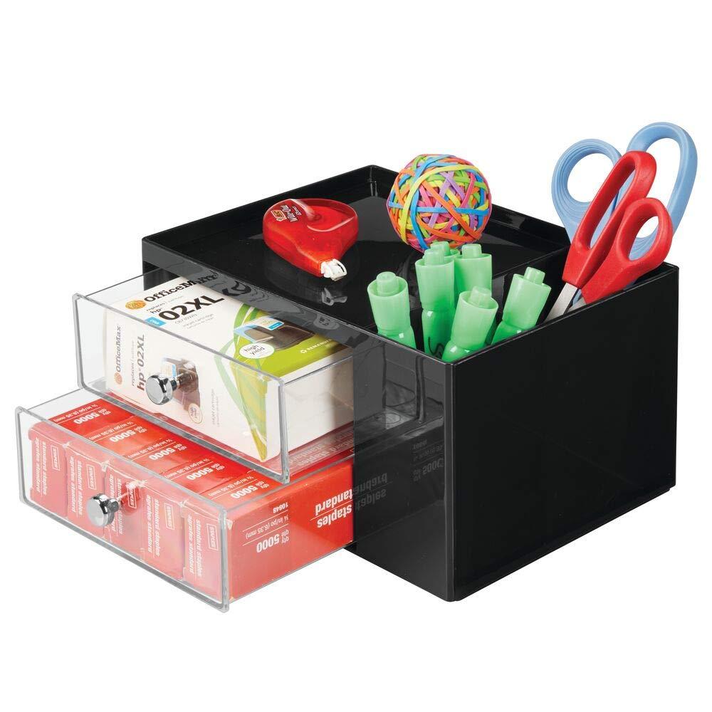 mDesign Organizer ufficio per riporre cancelleria nero//trasparente 2 scomparti laterali e comodo vassoio in cima Pratica mini cassettiera da scrivania 2 cassetti scrivania in plastica