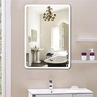 Flyelf 600 x 800 mm/500 x 700 mm Miroir de Mur de Salle de Bains, avec Commande par Effleurement, Blanc Froid Ip 67