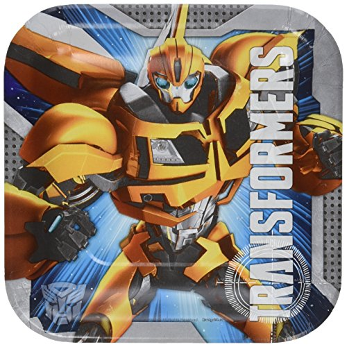 [Amscan Mighty Transformers Birthday Party Square Dessert Plates Tableware (8 Pack), 7