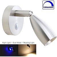 12V Reading Lamp RV Boat LED Bedside Lamp Camper Trailer Motorhome Interior Lighting Spotlight, Machined Aluminum Brushed Nickel