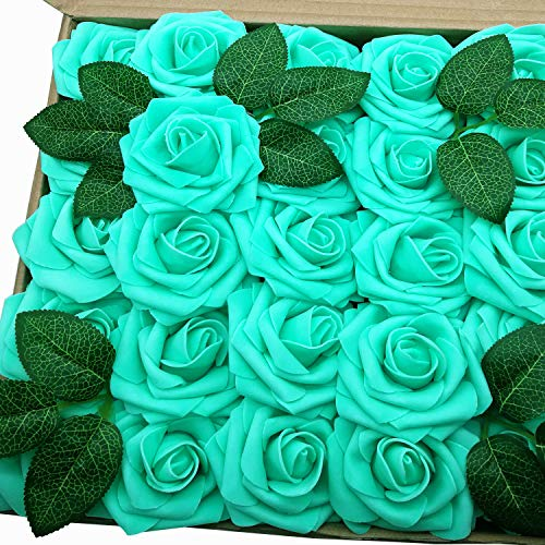 J-Rijzen Jing-Rise Artificial Flowers Real Looking Fake Roses with Stem for DIY Wedding Bouquets Centerpieces Party Baby Shower Home Decorations (Aqua Green, 50pcs Standard)