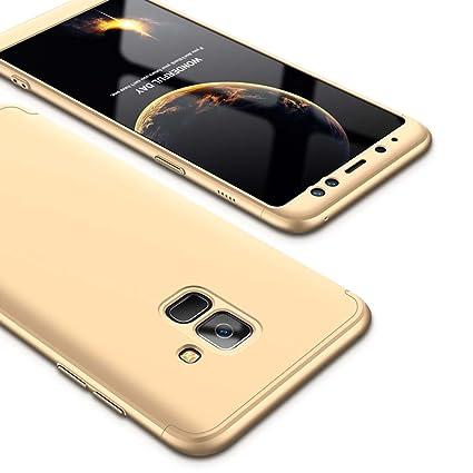 Funda Galaxy A8 2018, Carcasa Samsung Galaxy A8 2018 con [ Protector de Pantalla de Vidrio Templado ] 3 en 1 Desmontable Ultra-Delgado Anti-Arañazos ...