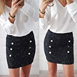 Women Sexy Solid Button High Waist Zipper Pencil