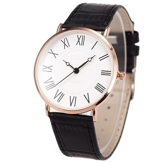 Reloj de Pulsera para Hombre Ultrafino Minimalista SIBOSUN Cuarzo Correa de Cuero Negro Números clásicos analógicos: Amazon.es: Relojes