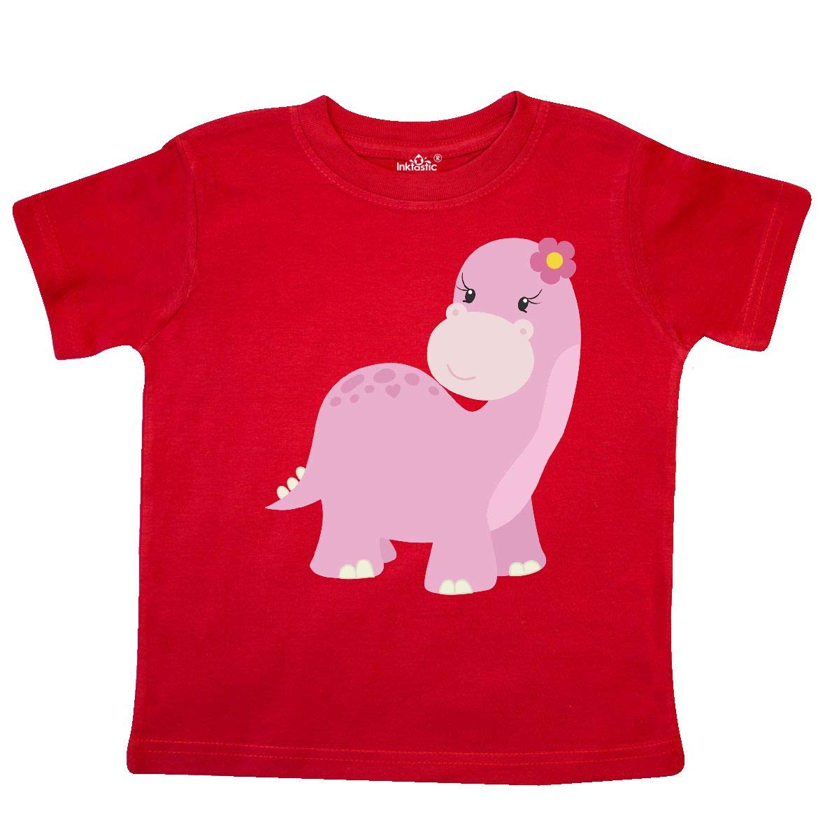 inktastic Cute Pink Dinosaur with Flower Toddler T-Shirt