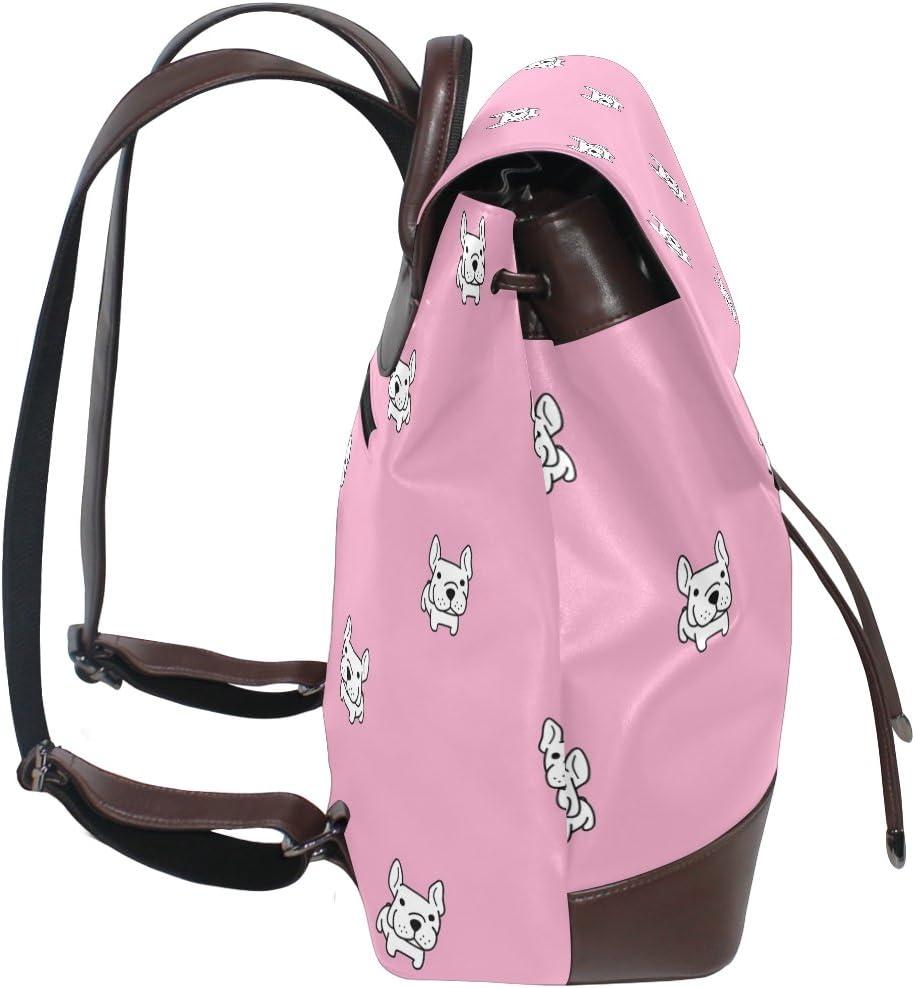 KUWT Bulldog Pink Background PU Leather Backpack Photo Custom Shoulder Bag School College Book Bag Rucksack Casual Daypacks Diaper Bag for Women and Girl