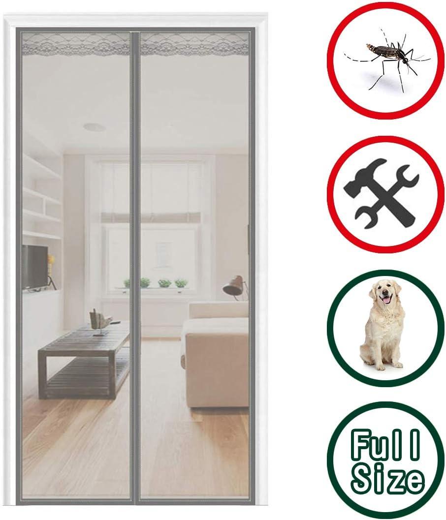Mosquitera para Puerta 140x210cm(55x83inch) Mosquitera Magnética Cierre Automático contra Insectos para Cortina de la Puerta, Gris: Amazon.es: Hogar