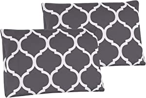 Grand Linen Queen Size Grey Quatrefoil Moroccan Lattice Pillow Cases 1500 Series High Thread Count Egyptian Quality 2 Piece Set, Silky Soft & Wrinkle Free