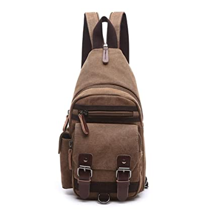 659d43c3c59 Image Unavailable. Image not available for. Color: HWX New Cool Outdoor  Sports Casual Canvas Backpack Crossbody Sling Bag Shoulder ...