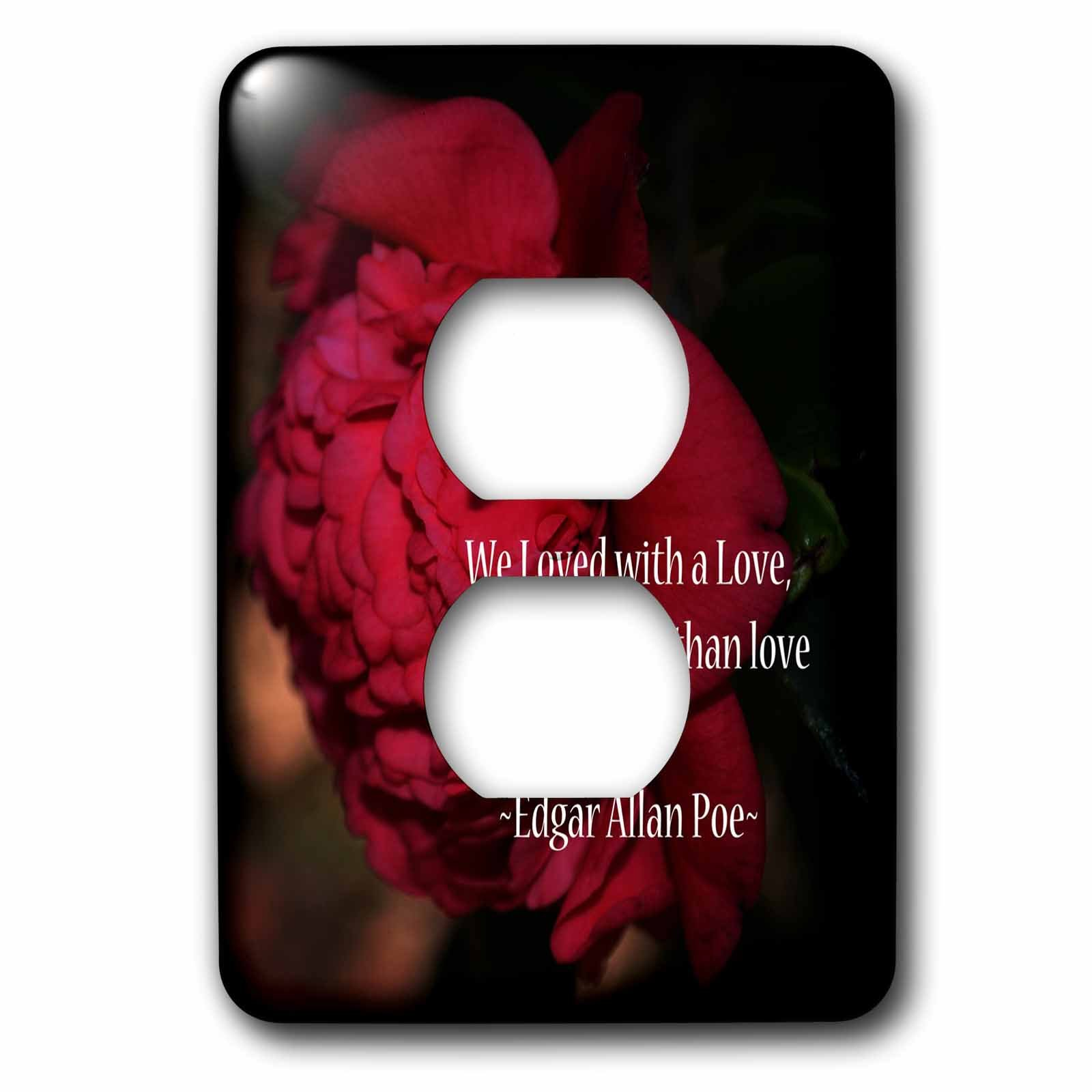 3dRose WhiteOaks Photography and Artwork - Inspirational - More Than Love is an inspirational quote by Edgar Allan Poe - Light Switch Covers - 2 plug outlet cover (lsp_265330_6)