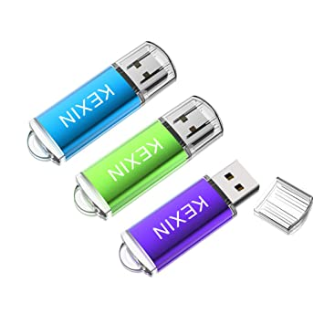 KEXIN Memoria USB 32GB 2.0 Pendrive Llave USB [3 Unidades] Memoria Flash Drive con LED Idicador para Ordenador PC Windows Mac OS (Color de ...